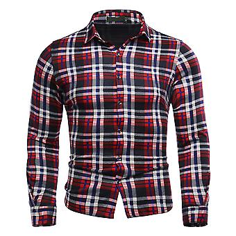 Allthemen hombres's casual impreso plaid camisa de manga larga lapel primavera