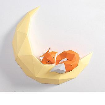 Pre-cut Fox Moon/panda Animal Wall Decor, Home Art Night Decoration Paper Model