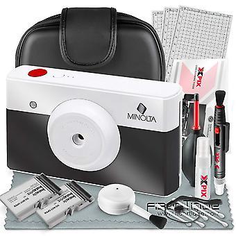 Minolta instapix print digital camera with printer (charcoal) + cartridge + deluxe accessory bundle