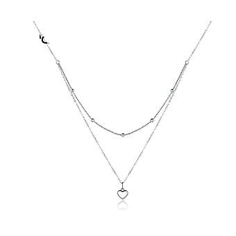 Silver layered  pendant necklace for women