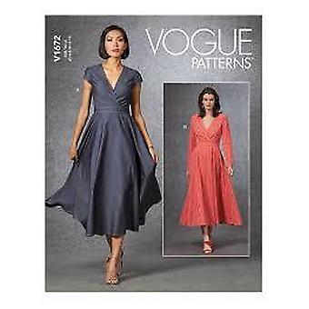 Vogue Coser Patrón 1672 Misses Vestido Forrado Tamaño 14-22
