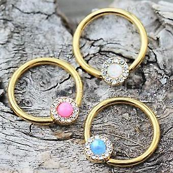 Pozlátené šperky syntetické opálové v zajatí bead ring bradavky šperky