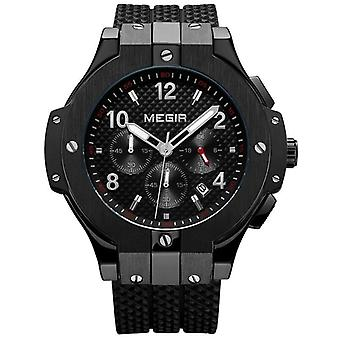 Men Gold Rubber Band 3atm Water Resistant Chronograph Mens Quartz Wrist Watch
