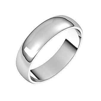 925 Sterling Argento Mezzo Rotondo 5mm Leggero Mezza Tonda Banda Leggera Taglia 8 Regali gioielli per le donne