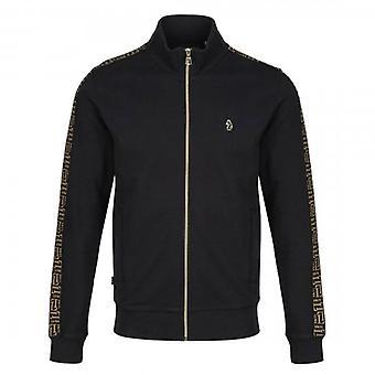 Luke 1977 Dougan Logo Print Zip Up Track Sweatshirt Black M610301