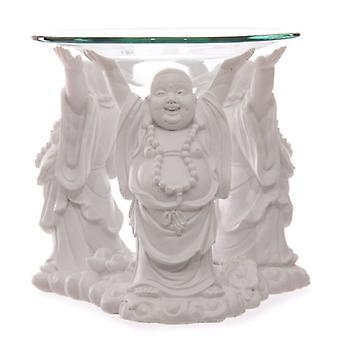 White Chinese Buddha Oil Burner with Glass Dish