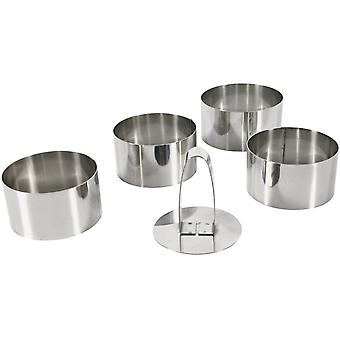 Set Of 4 Round Cutters Diam 8 Cm Height 4.5 Cm In Stainless Steel + Stainless Steel Pusher