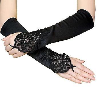 Hosszú rojtos kesztyű rugalmas fél ujjú gótikus virágos kesztyű fekete