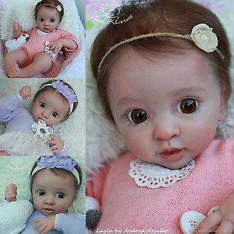 17 Inch es újjászületett baba készlet élethű puha valódi érintés friss szín festetlen baba alkatrészek újjászületett layla