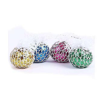 4 stuks netto doek grape ballen squishy bal speelgoed stress reliever