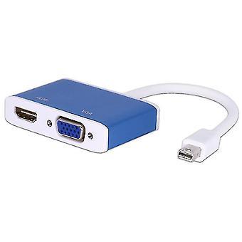 Mini DisplayPort HDMI VGA adapter kábelhez,Mini DP átalakító 4K(Kék)