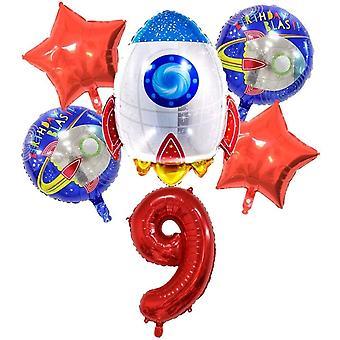 , großes Raketen Weltraum Luftballon Set, XL Zahlen-Ballon Zahl 9 rot, Happy Birthday Folien-Ballons