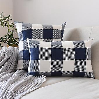 Blue and white series striped plaid pillow cover, cotton and linen soft sofa, throw pillowcase