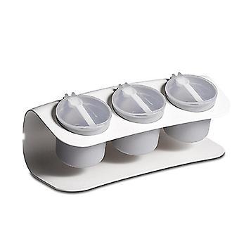 Spices Box 3 Grid PP Pepper Spice Shaker Salt Seasoning Organizer Kitchen Cruet Condiment Bottle
