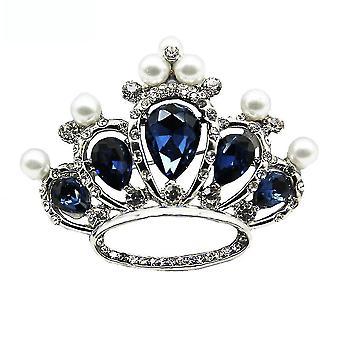 Klasszikus fűző korona hölgyek bross kék üveg bross csap