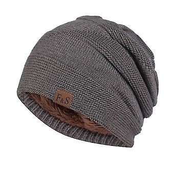 Unisexe Lettre Bonnet Chapeau Loisir Ajouter Fourrure Doublé Chapeaux d'Hiver Pour Hommes Femmes Garder Chaud Tricoté Chapeau
