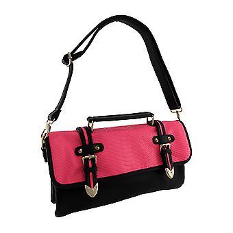 Sort taske taske med spænder og fluorescerende slangeskind Flap