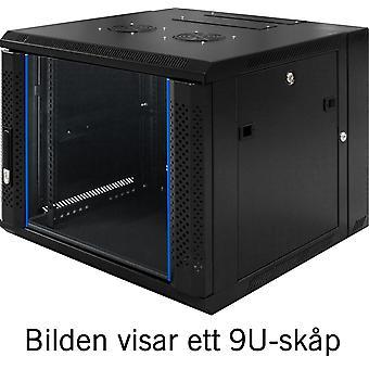 "TOTEN System Z, 19"" väggskåp, 6U, 600x600, glasdörr, svart"