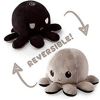Оригинальный обратимый осьминог Plushie | Черный и серый | Покажите свое настроение, не говоря ни слова!