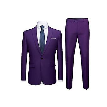 Herren Anzüge ein Knopf Slim Fit 2 Stück Anzug Blazer Jacke Hose Set