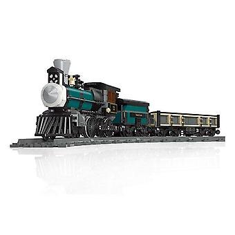Railway Steam Era Train Brick Master Red And Black Railway Suit Model Building Children's Toy Boy