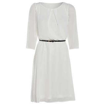 Womens belted flowy chiffon dress DR880-White-12