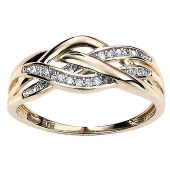9 ct золота 0,10 карат алмазов кольцо