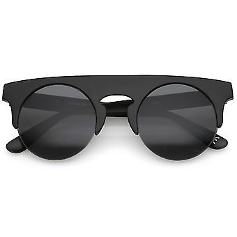 Horn Flat Top moderne Rimmed lunettes de soleil sans monture ronde lentille plate Semi 48mm
