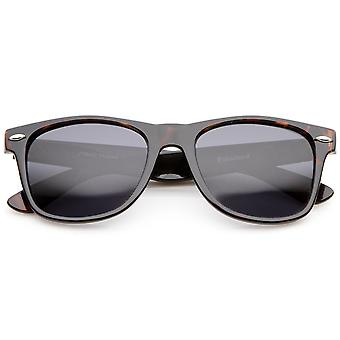 Retro Wide Temple Polarized Lens Horn Rimmed Sunglasses 55mm