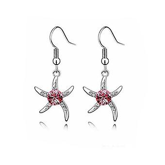 Womens Silver Starfish Drop Earrings Pink Crystal Stone BG1080E