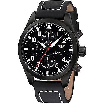KHS Herrenuhr Airleader czarny stalowy chronograf KHS. AIRBSC. LBB