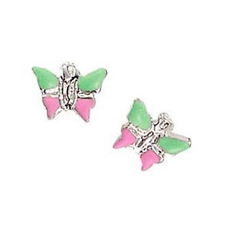 Scout Kinderen oorbellen doorstoken oorbellen zilveren vlinder groen / roze meisjes 262128100