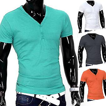 T-Shirt col v Slim Fit simple base manches courtes hommes