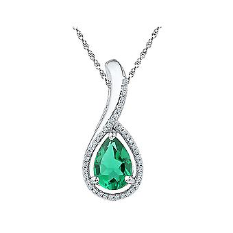 1.85 Carat (ctw) Lab Created Green Emerald Drop Pendant Necklace in Sterling Silver with Chain
