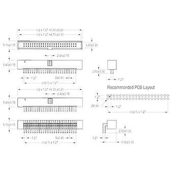 W & P Products Pin strip Contact spacing: 1.27 mm Total number of pins: 10 No. of rows: 2 1 pc(s)