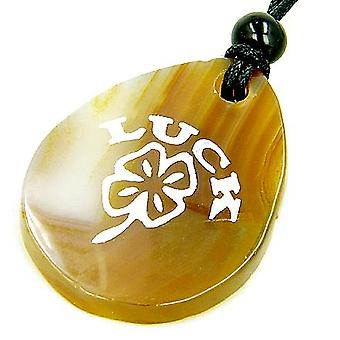 Lucky Clover önskan sten naturlig agat ädelsten halsband