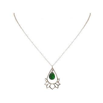 Дамы - кулон - ожерелье 925 серебра - цветок лотоса - Мандала - турмалин кварц - drop - Грин - ЙОГА - 4 см