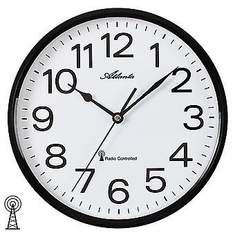 Atlanta 4378/7 wall clock radio radiostyret væg ur analog sort hvide runde
