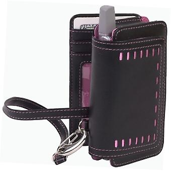 Cellective Case Horizontal Leather Pouch for BlackBerry, Treo, and Pocket PC Devices - Black/Pink