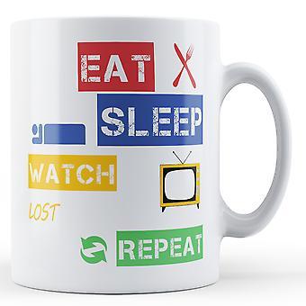 Eat, Sleep, Watch Lost, Repeat Printed Mug