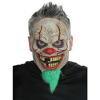 Bad News Clown Joker Evil Sinister Creepy Mens Costume Latex Mask Hair & Beard
