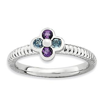 2.25mm 925 Sterling Silver Bezel Polished Stackable Expressions Blue Topaz and Amethyst Flower Ring Jewelry Gifts for Wo