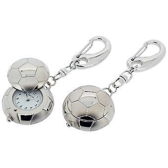 Cadeau tijd producten voetbal met Cover klok Key Ring - Zilver