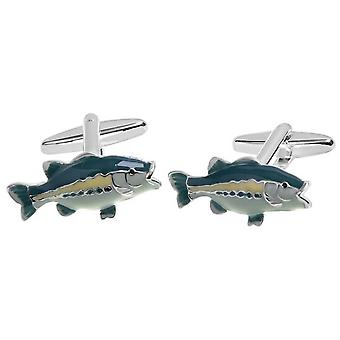 Zennor Bass Fish Cufflinks - Green/Yellow/Silver