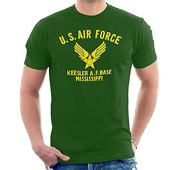 US Airforce Keesler AF Base Mississippi Yellow Text Men's T-Shirt