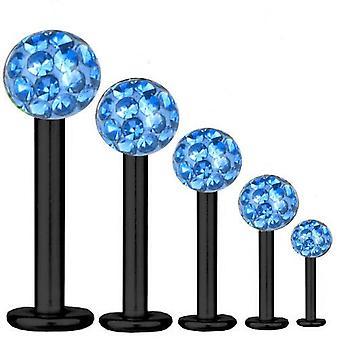 Bar di Labret trago Piercing titanio nero 1,2 mm, Multi sfera di cristallo azzurro