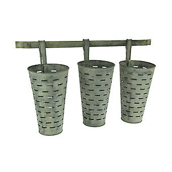 Weathered Galvanized Finish Wall Mounted 3 Piece Olive Bucket Planter Set
