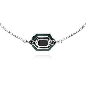 Art Deco Style Octagon Onyx, Marcasite & Green Emali Kuusikulmio rannekoru 925 Sterling Hopea 214L164504925