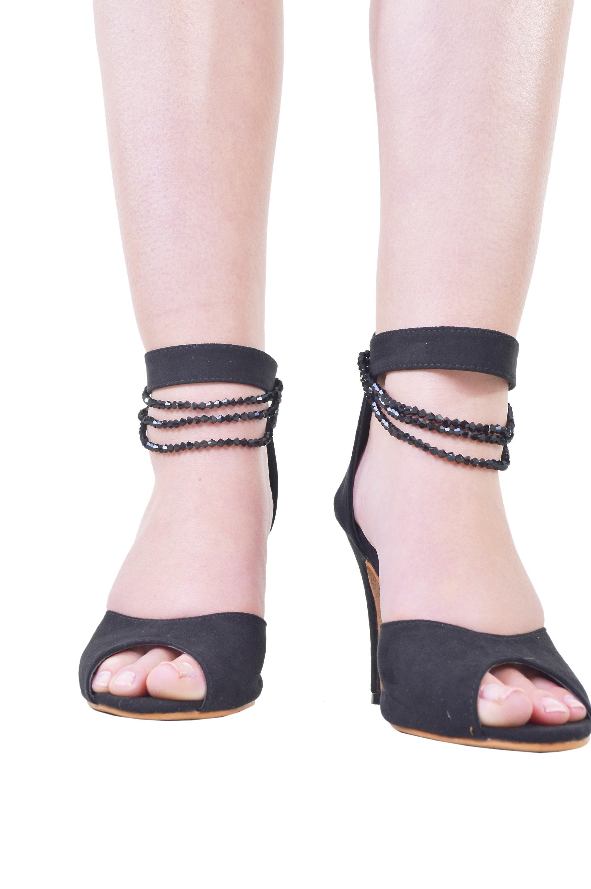 Lovemystyle Peep Toe Heels With Beaded Chain In Black