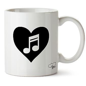 Hippowarehouse coração música impressa caneca copo cerâmico 10oz